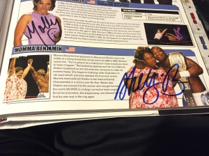 "Shelton's signature in ""Momma Benjamin"" entry in WWE Encyclopedia, Vol. 2."