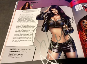 "Paige autograph in ""WWE Ultimate Superstar Guide"""