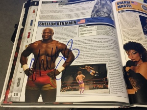"Shelton Benjamin's signature in ""Shelton Benjamin"" entry in WWE Encyclopedia, Vol. 2."